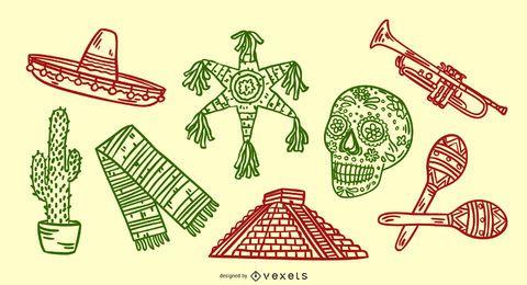 Conjunto de elementos mexicanos dibujados a mano