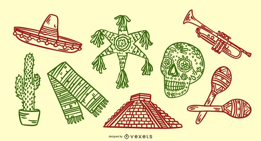 Mexican elements hand drawn set