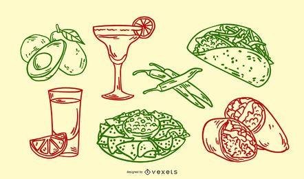 Conjunto de ilustrações desenhadas à mão de comida mexicana