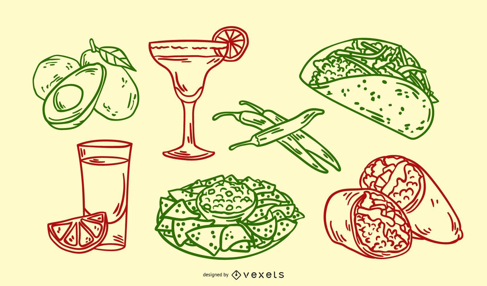 Conjunto de ilustraciones dibujadas a mano de comida mexicana