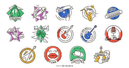 Colección de insignias de géneros musicales