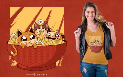 Design do t-shirt dos gatos do Ramen