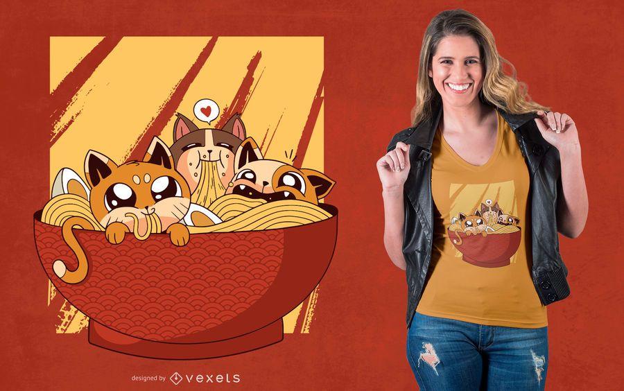 Diseño de camiseta de gatos Ramen