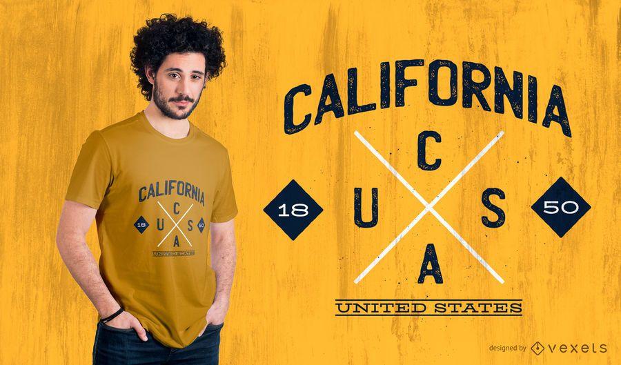 Projeto do t-shirt do logotipo do Hipster do estado de Califórnia