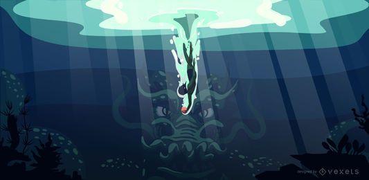 Desenho de ilustração de dragão subaquático