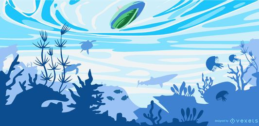 Ilustración de barco plano bajo el agua
