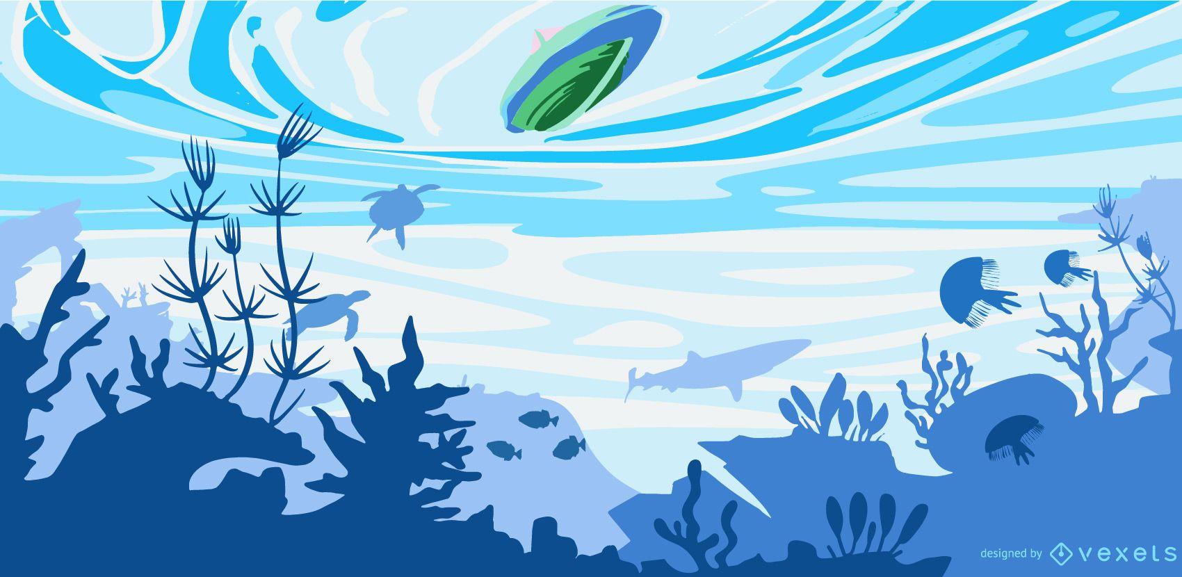 Underwater flat boat illustration