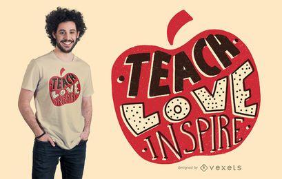 Projeto do t-shirt da rotulação de Apple do professor