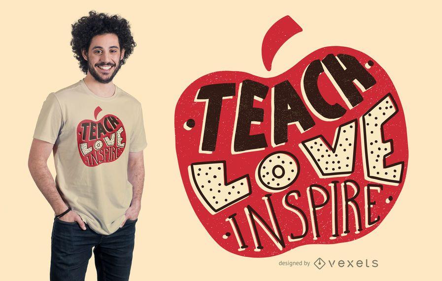 Diseño de camiseta de letras Apple del profesor
