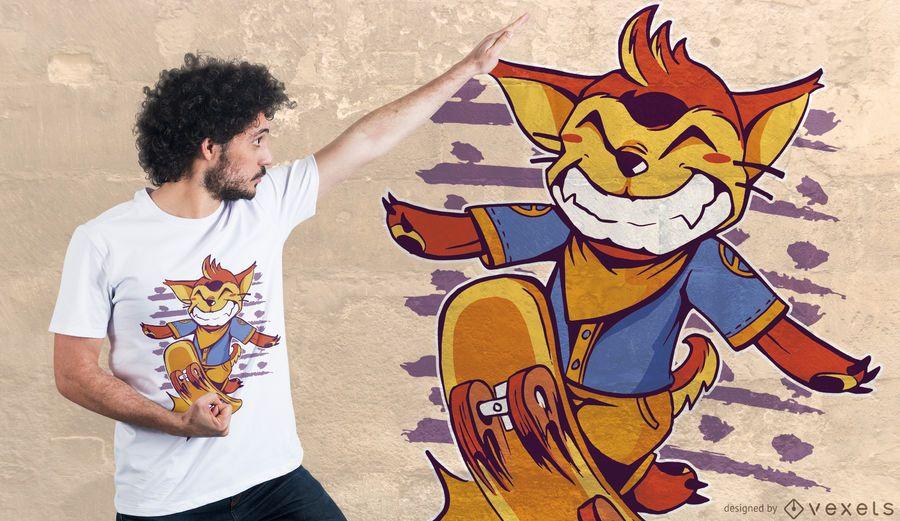 Projeto do t-shirt do Fox do patim