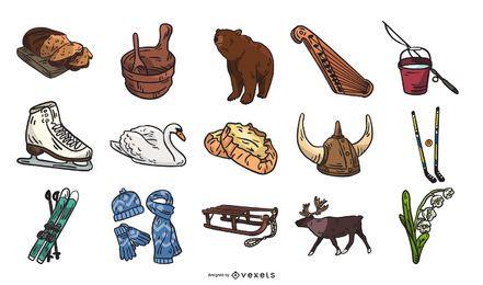 Coleção de elementos de cultura da Finlândia