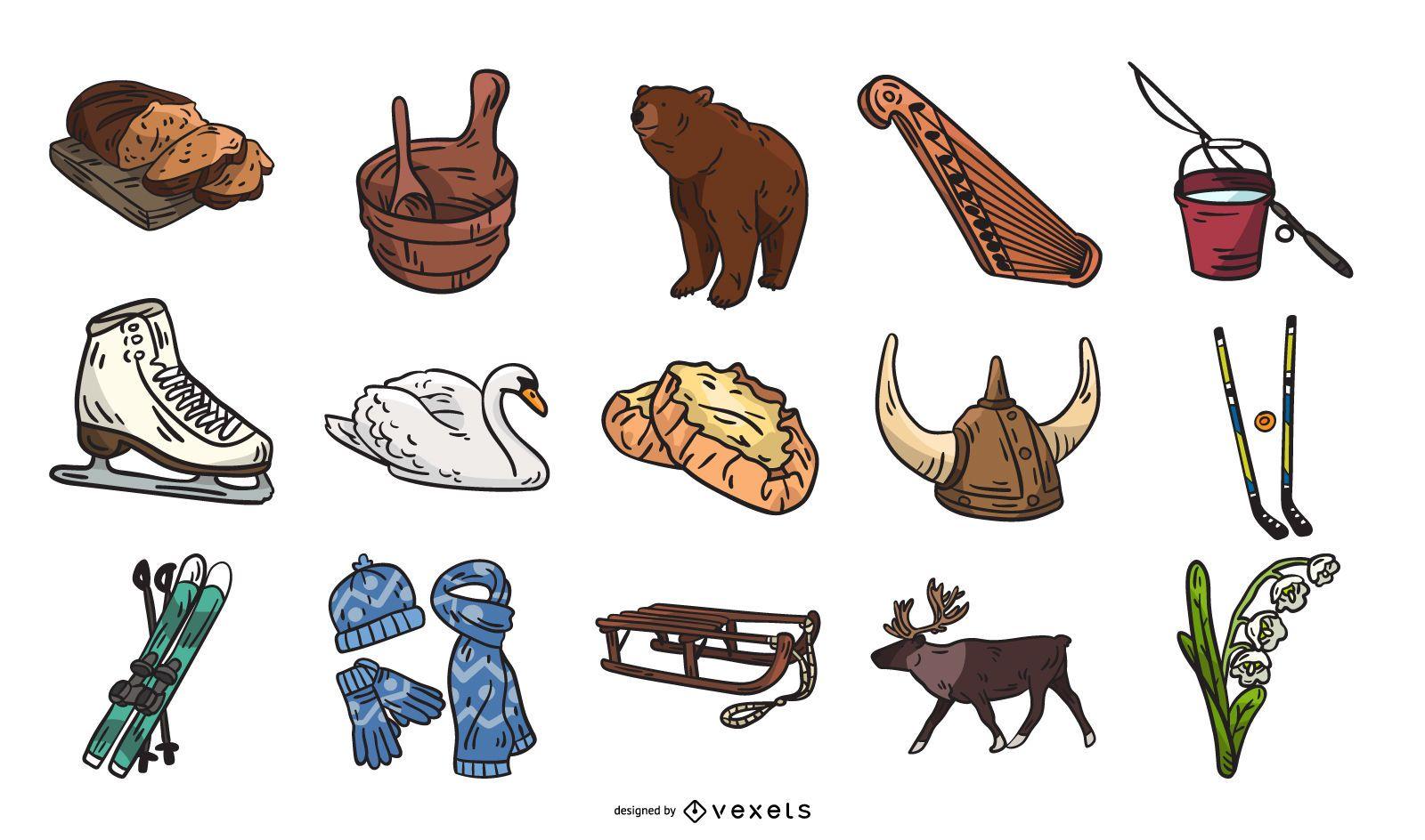 Colección de elementos de la cultura de Finlandia