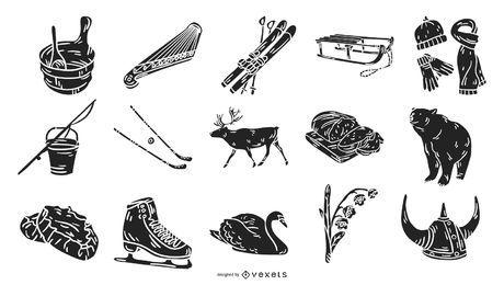 Silhuetas de elementos de cultura Finlândia