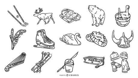 Elementos dibujados a mano de Finlandia