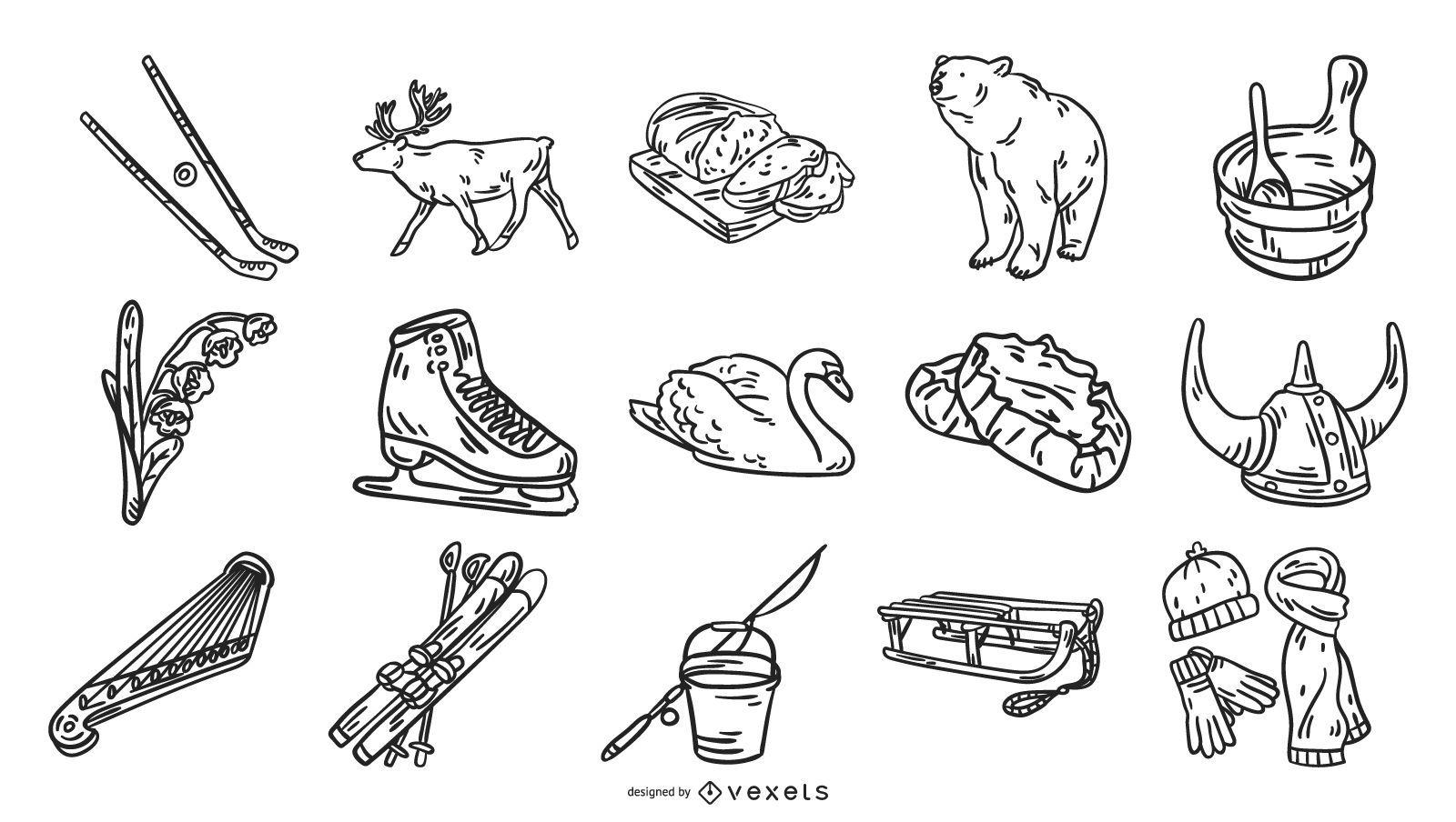Finlandia elementos dibujados a mano