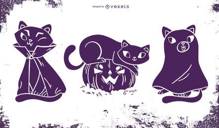 Funny Halloween Cat Silhouette Set