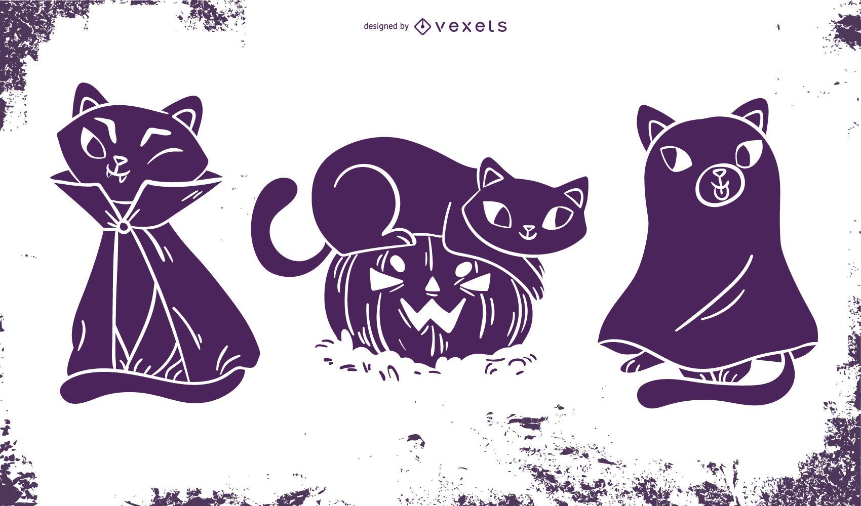 Funny Halloween Cat Silhouette Set
