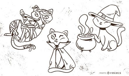 Conjunto de vectores lindo de gatos de Halloween