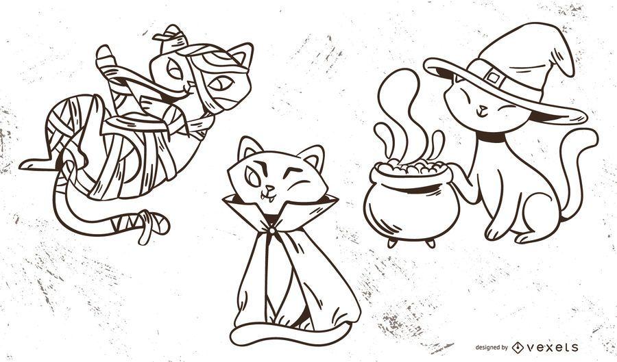 Conjunto de Vector lindo de gatos de Halloween