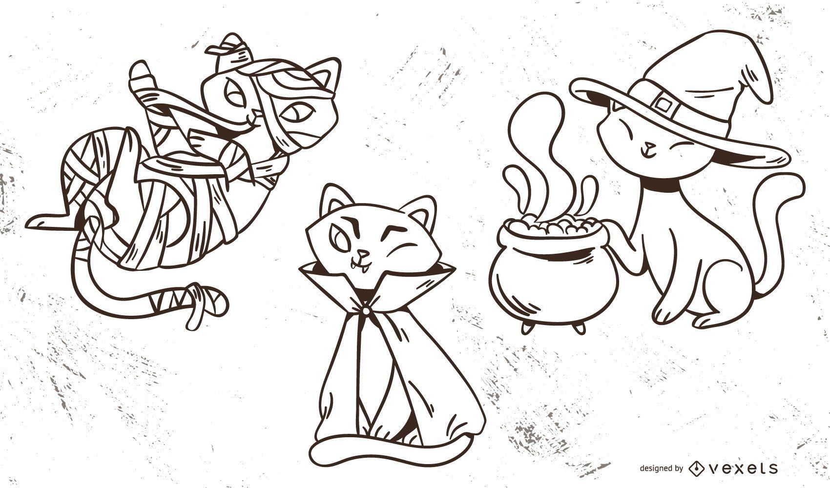 Halloween Cats Cute Vector Set