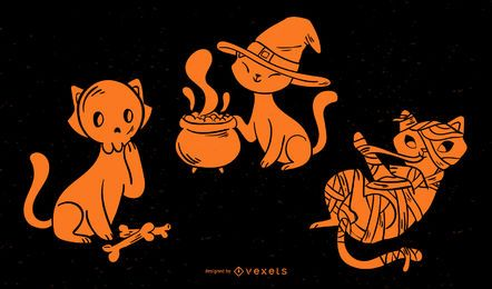 Lindo conjunto de silueta de gato de Halloween