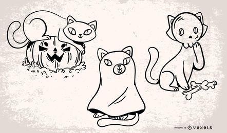 Conjunto de vectores de gatos de Halloween