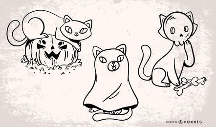 Halloween Cats Vector Set