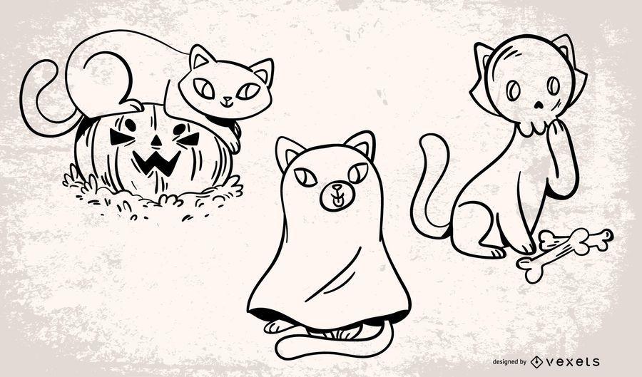 Halloween Cats Vector Set