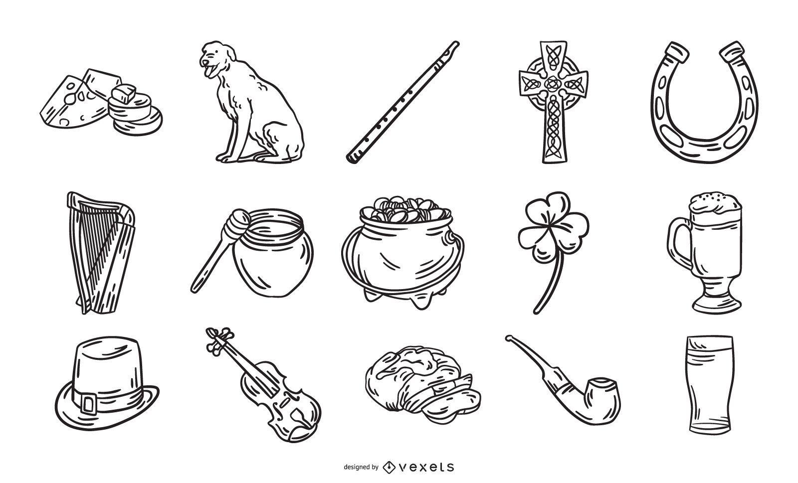 Irlanda elementos dibujados a mano