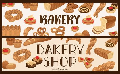 Bakery shop banner set