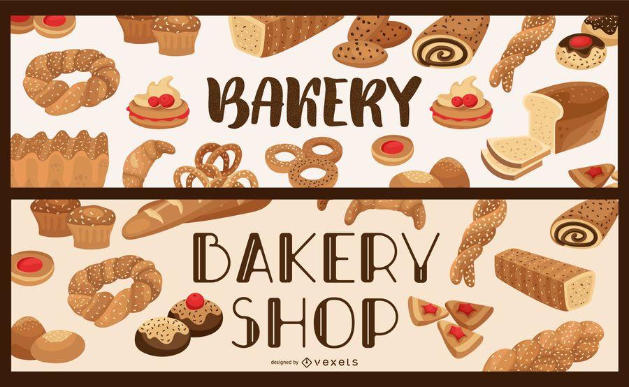 Bakery shop banner set