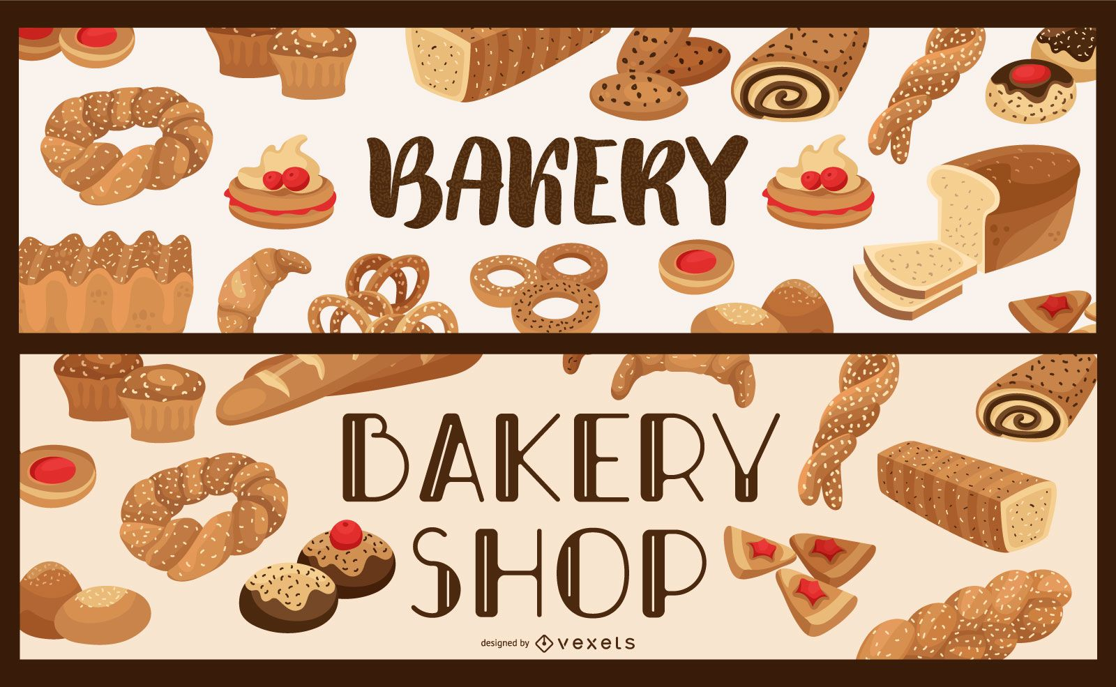 Conjunto de banner de tienda de panadería