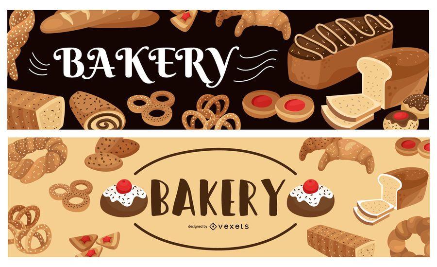 Conjunto de banner de panadería