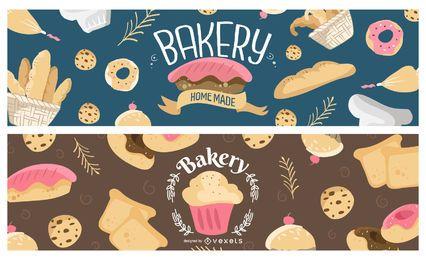 Conjunto de banner de panadería dulce