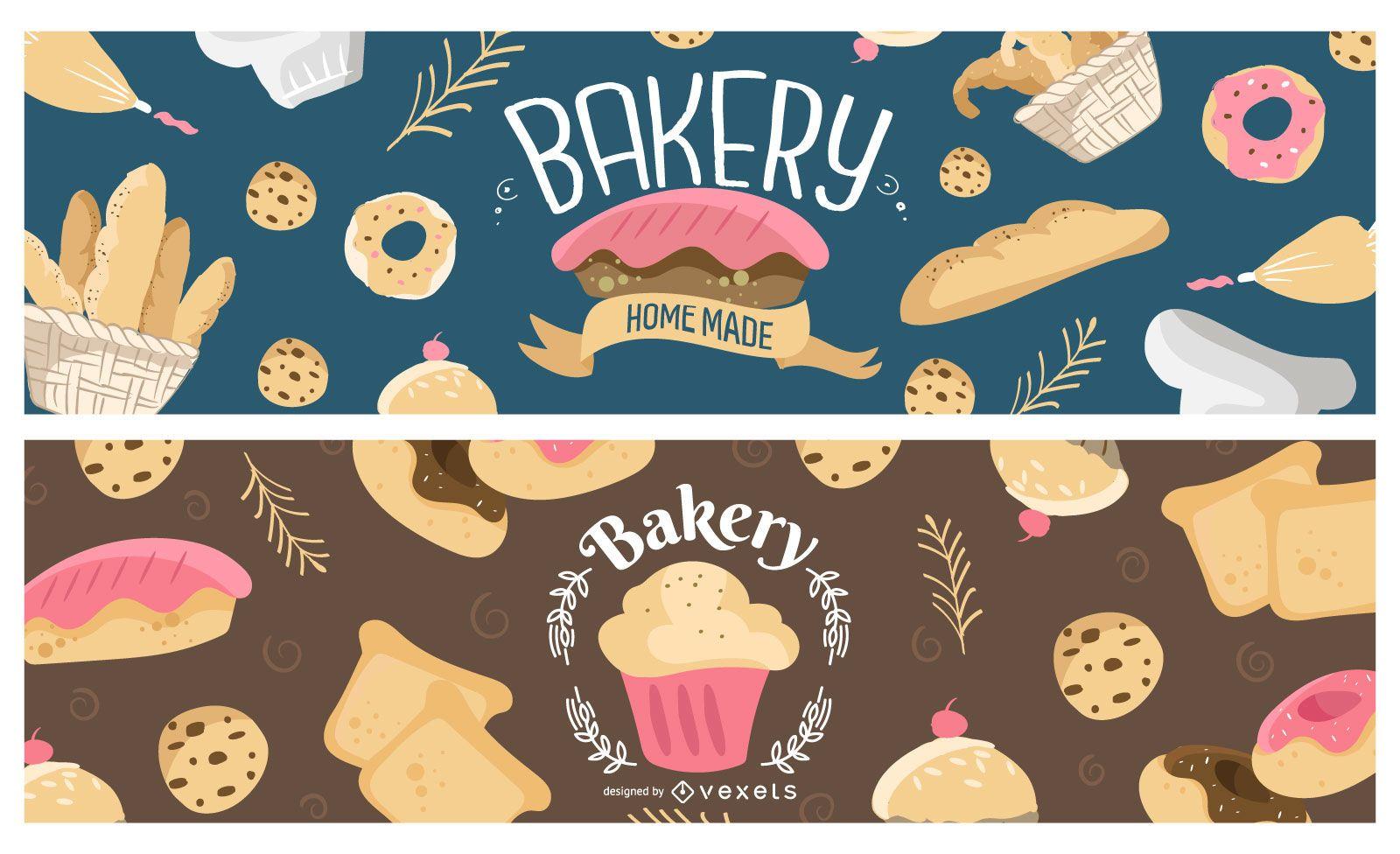 Sweet bakery banner set