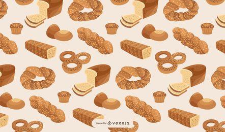 Diseño de patrón de panadería de pan