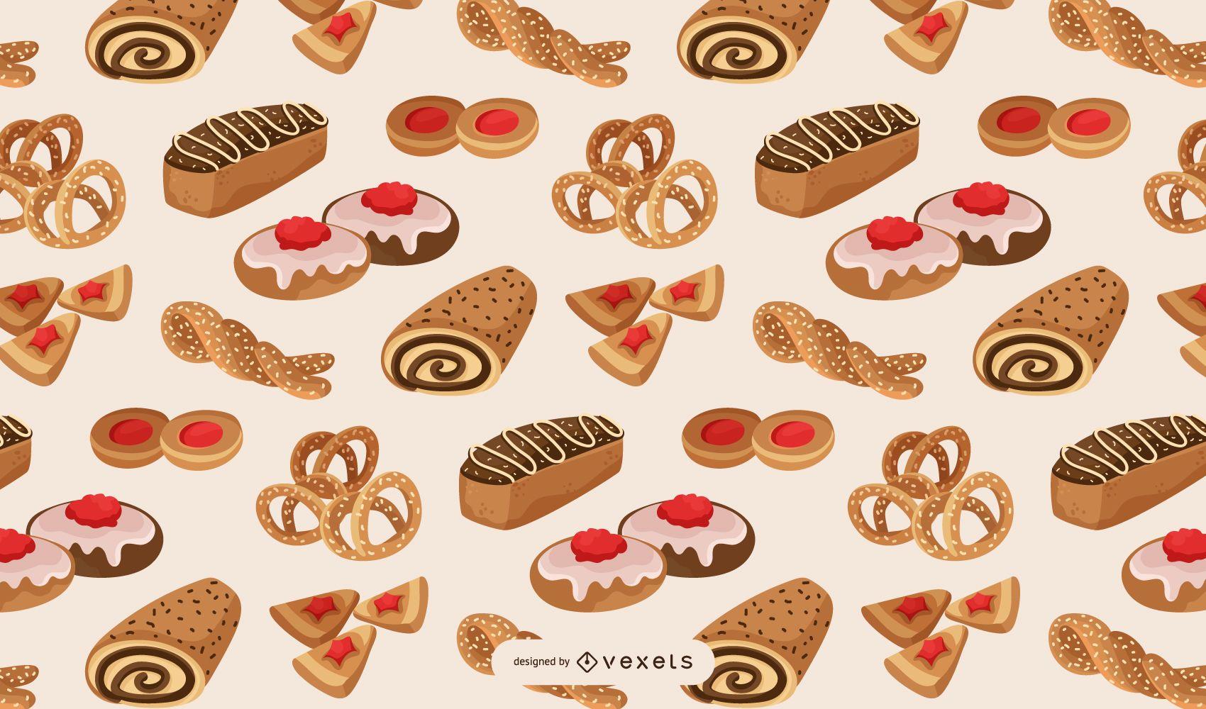 Diseño de patrón de panadería dulce