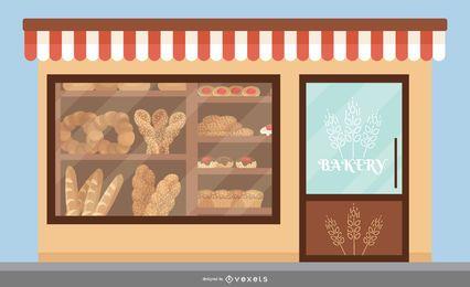 Gráfico de diseño plano de panadería tienda frontal