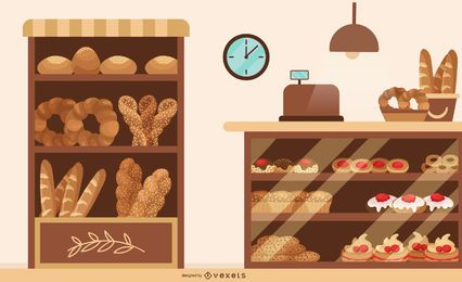 Bakery shop flat illustration