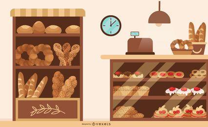Ilustración plana de tienda de panadería