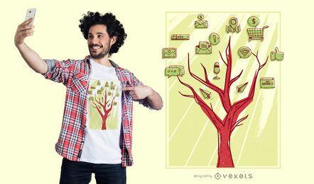 Diseño de camiseta de árbol de redes sociales