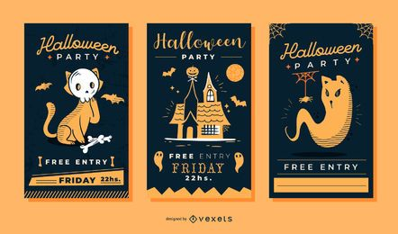 Conjunto de vetores de convite fofo de halloween