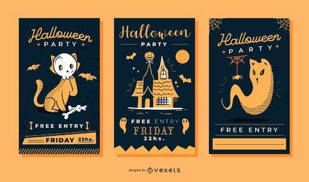 Netter Halloween-Einladungsvektorsatz