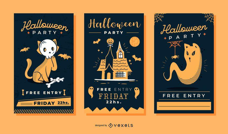 Lindo conjunto de vectores de invitación de halloween