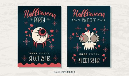 Halloween party poster set