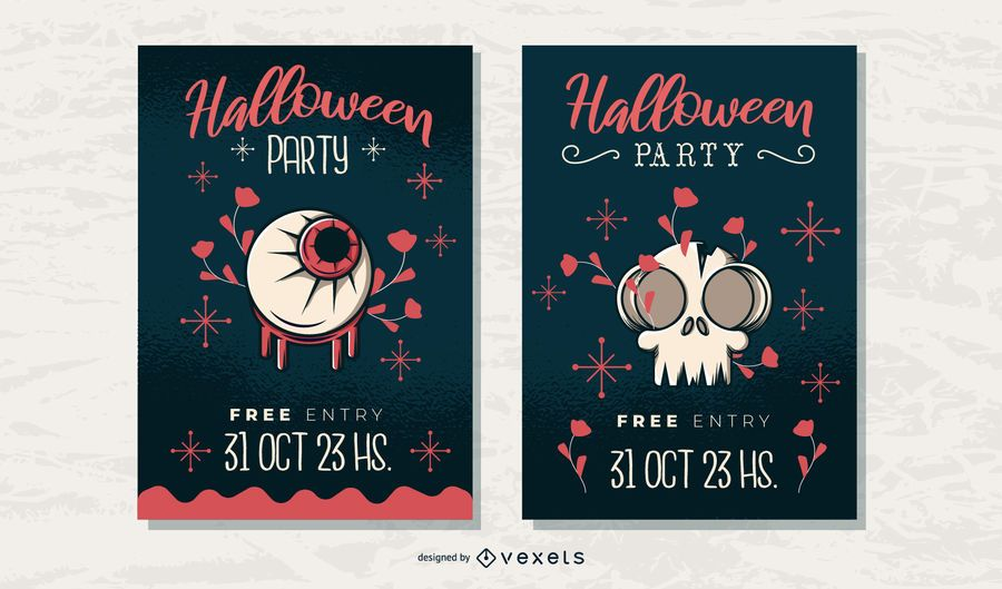 Conjunto de cartazes de festa de Halloween