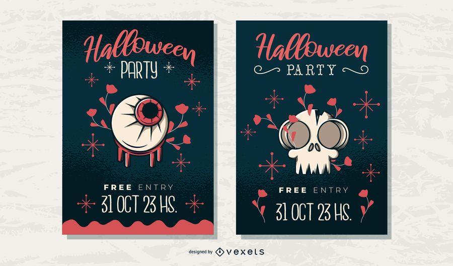 Conjunto de carteles de fiesta de Halloween