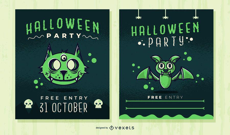 Netter Halloween-Party Einladungssatz