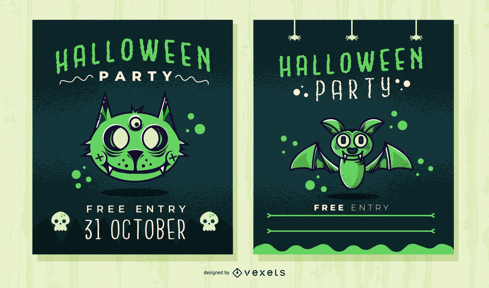 Lindo conjunto de invitación de fiesta de halloween