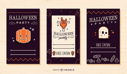 Cool Halloween party invitation set
